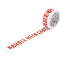 "5 Star Printed Tape ""Handle with Care"" Polypropylene, 50mmx66m, Red on White, Pack of 6"