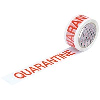 "5 Star Printed Tape ""Quarantine"" Polypropylene, 50mmx66m, Red on White, Pack of 6"