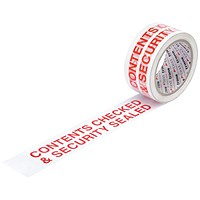 "5 Star Printed Tape ""Contents Checked"" Polypropylene, 50mmx66m, Red on White, Pack of 6"