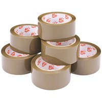 5 Star Packaging Tape, Low Noise, Polypropylene, 48mm x 66m, Buff, Pack of 6