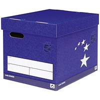 5 Star Superstrong Archive Storage Boxes, Foolscap, Blue, Pack of 10