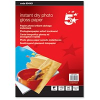 5 Star Inkjet Photo Gloss Fast Drying Photo Paper, 100 x 150mm, White, 175gsm, Pack of 50 Sheets