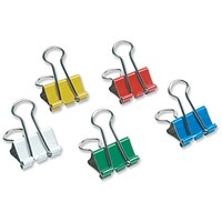 5 Star Foldback Clips - 19mm, Assorted Colours, Pack of 12