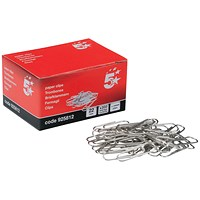 5 Star Small Metal Paperclips - 22mm / Plain / Pack of 10x200