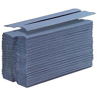 5 Star C-Fold Hand Towels, 1-Ply, Blue, 15 Sleeves of 192 Towels