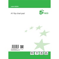 5 Star Flipchart Pad, Recycled, Perforated, 40 Sheets, A1, Plain, Pack of 5