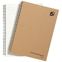 5 Star Hard Cover Wirebound Notebook, A4, Recycled, 160 Pages, Pack of 5