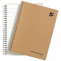 5 Star Hard Cover Wirebound Notebook, A5, Recycled, 160 Pages, Pack of 5