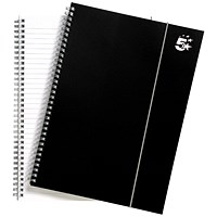 5 Star Wirebound Polypropylene Notebook, A4, Elasticated, 160 Pages, Pack of 6