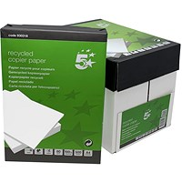 5 Star A4 Recycled Copier Paper, White, 80gsm, Box (5 x 500 Sheets)