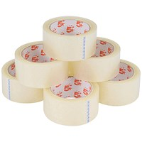 5 Star Packaging Tape Roll, Low Noise, Polypropylene, 50mmx66m, Clear, Pack of 6