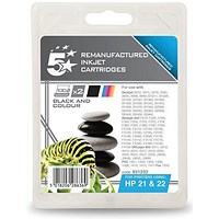 5 Star Compatible - Alternative to HP 21/22 Black and Colour Inkjet Cartridges (Twin Pack)