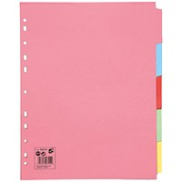 5 Star Subject Dividers, Extra Wide, 5-Part, A4, Assorted, Pack of 10