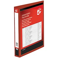 5 Star Presentation Binder, A4, 4 D-Ring, 38mm Capacity, Red, Pack of 10