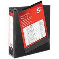 5 Star Presentation Binder, A4, 4 D-Ring, 50mm Capacity, Black, Pack of 10