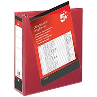 5 Star Presentation Binder, A4, 4 D-Ring, 65mm Capacity, Red, Pack of 10