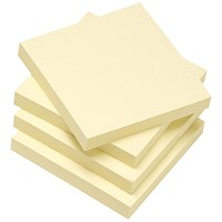 5 Star Eco Recycled Sticky Notes, 76x76mm, Yellow, Pack of 12 x 100 Notes