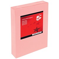 5 Star A4 Multifunctional Coloured Paper, Medium Salmon, 80gsm, Ream (500 Sheets)