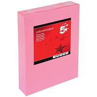 5 Star A4 Multifunctional Coloured Paper, Medium Pink, 80gsm, Ream (500 Sheets)
