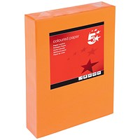 5 Star A4 Multifunctional Coloured Paper, Deep Orange, 80gsm, Ream (500 Sheets)