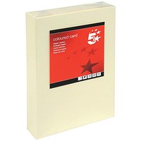 5 Star A4 Multifunctional Coloured Card, Light Cream, 160gsm, 250 Sheets