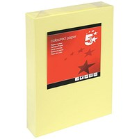 5 Star A4 Multifunctional Coloured Card, Light Yellow, 160gsm, 250 Sheets