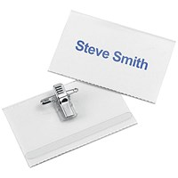 5 Star Name Badges with Combi-Clip, Polypropylene, 90x54mm, Pack of 50