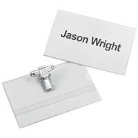 5 Star Name Badges with Combi-Clip, PVC, 90x54mm, Pack of 25