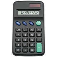5 Star Pocket Calculator, 8 Key, Solar and Battery Power, Black
