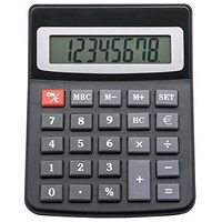 5 Star Desktop Calculator / 8 Digit / 3 Key / Solar and Battery Power / Black
