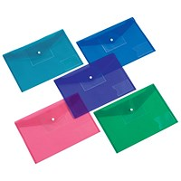 5 Star A4 Envelope Wallet, Card Slot, Assorted, Pack of 5