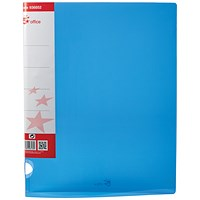 5 Star Ring Binder, A4, 2 O-Ring, Translucent, 25mm Capacity, Blue, Pack of 10