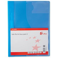 5 Star A4 Task File, Blue, Pack of 5
