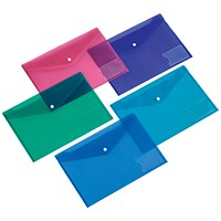 5 Star Foolscap Envelope Wallets, Card Holder, Assorted, Pack of 5