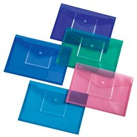 5 Star A4 Envelope Wallet, CD Filing Pockets, Assorted, Pack of 5