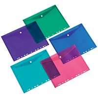 5 Star A4 Punched Filing Pockets, Assorted, Pack of 5
