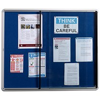 5 Star Noticeboard, Glazed Aluminium, W1200xH900mm, Blue