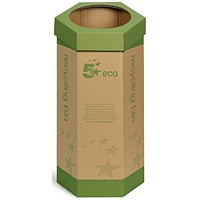 5 Star Recycling Bin, Cardboard, Pack of 3