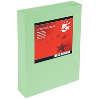 5 Star A4 Multifunctional Coloured Paper, Bright Green, 80gsm, Ream (500 Sheets)