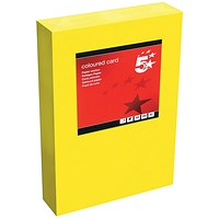 5 Star A4 Multifunctional Tinted Card, Deep Yellow, 160gsm, 250 Sheets