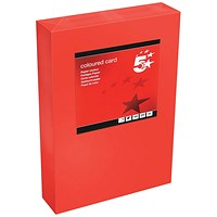 5 Star A4 Multifunctional Tinted Card, Deep Red, 160gsm, 250 Sheets