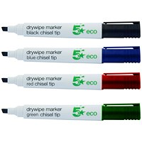 5 Star Eco Drywipe Markers, Chisel Tip, Assorted, Pack of 4