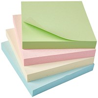 5 Star Eco Repositionable Sticky Notes, 76x76mm, Pastel, Pack of 12