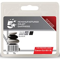 5 Star Compatible - Alternative to Canon CLI-551 XL Black Inkjet Cartridge