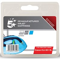 5 Star Compatible - Alternative to Canon CLI-551 XL Cyan Inkjet Cartridge