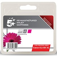 5 Star Compatible - Alternative to Canon CLI-551 XL Magenta Inkjet Cartridge