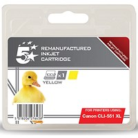 5 Star Compatible - Alternative to Canon CLI-551 XL Yellow Inkjet Cartridge