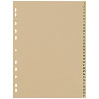 5 Star Eco Subject Dividers, 1-31, A4, Buff