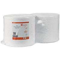 5 Star Wiper Roll, 2-ply, 370mmx370mm, White, Pack of 2