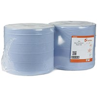 5 Star Wiper Roll, 2-ply, 370mmx370m, Blue, Pack of 2
